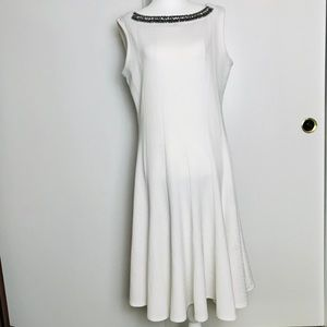 Haani XL White Jewel Collar White Twirl Dress
